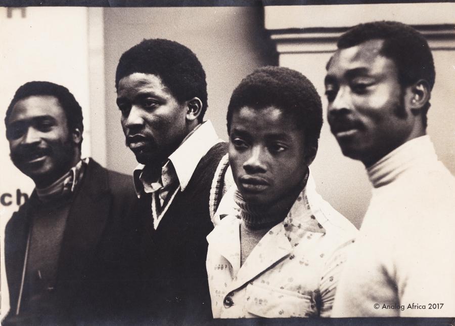 Olinga Gaston, Kofana André, Théodore Essama, Bernard Ntone outside Studio Decca in Paris 1976